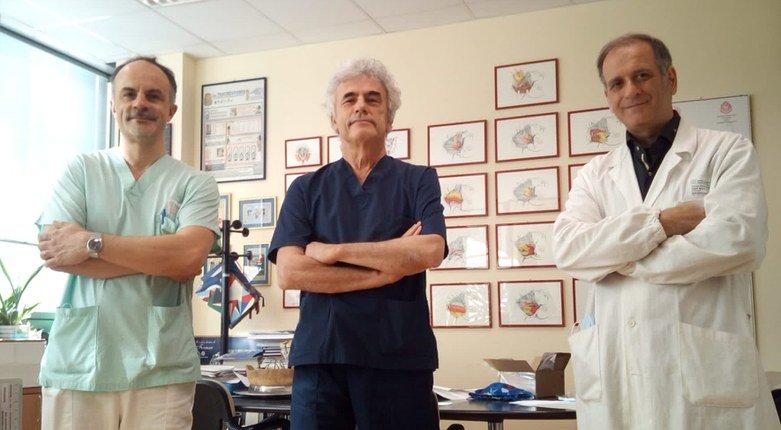 il Dott. Nicola Malagutti (ORL Azienda Ospedaliero Universitaria di Ferrara) che ha collaborato per la messa a punto del test nasale, il Prof. Stefano Pelucchi e il Prof. Michele Rubini